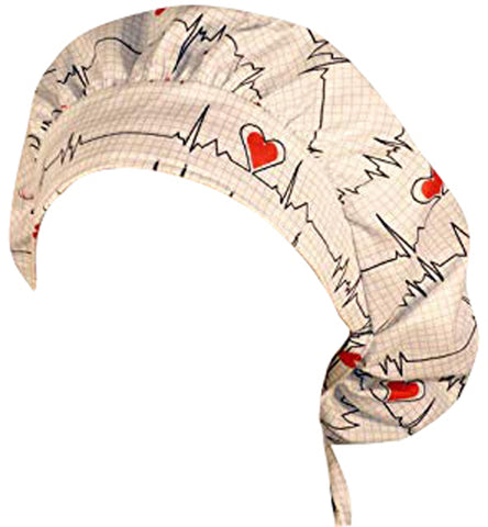 EKG Heart Beat White Surgical Bouffant for Long Hair Scrub Hat with SWEATBAND MADE IN THE USA Doctors Surgeon Hat