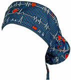 Surgical Bouffant for Long Hair Scrub Hat EKG Heartbeat with SWEATBAND MADE IN THE USA Doctors Surgeon Hat
