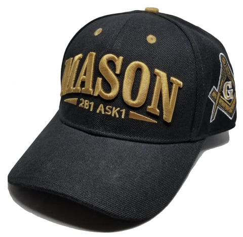 MASON Baseball Cap 2B1 ASK1 Black Regalia Masonic Symbol Hat with Gold Embroidery