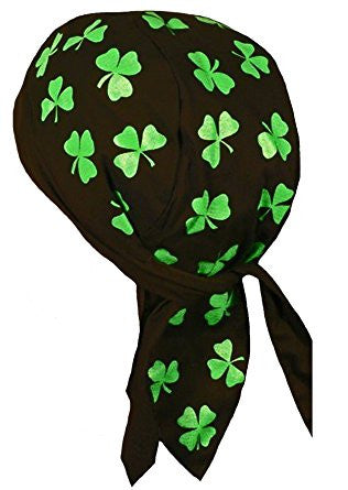 Irish Clover Black and Green Doo Rag Shamrock St. Patrick's Day Dorag with SWEATBAND