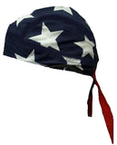 American Flag Patriotic Headwrap Doo Rag Durag BIG STARS Skull Cap Cotton Sporty Motorcycle Hat