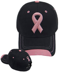 Pink Ribbon Hat Breast Cancer Awareness Womens Black Baseball Cap