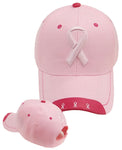 Pink Ribbon Hat Breast Cancer Awareness Womens Baseball Cap