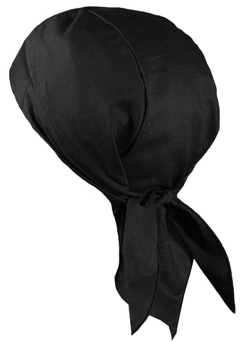 Black Doo Rag with SWEATBAND Durag Motorcycle Skull Cap Cotton MADE IN THE USA