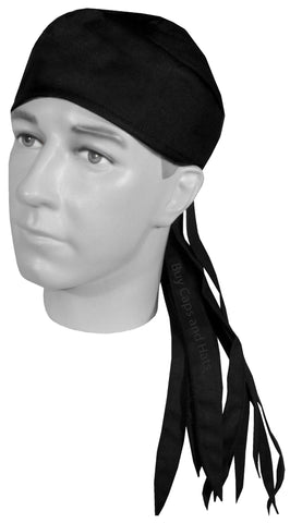 Solid Black Doo Rag ROVER Durag Long Tails and SWEATBAND MADE IN THE USA