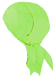 Hi-Vis Chartreuse Green Doo Rag w/ SWEATBAND High Visibility Motorcycle Skull Cap Made in America