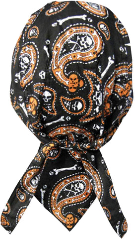 Skulls and Bones Doo Rag Cap with Sweatband Biker Hat Bandana Head Wrap Black and Orange for Men or Women