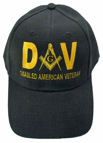 Mason Hat Black DAV Baseball Cap with Masonic Logo Freemasons Shriners Prince Hall Lodge Headwear