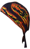 Dragon Dorag with Flames Black Doo Rag Headwrap Cotton Durag Skull Cap