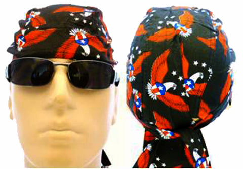 American Flag Patriotic Headwrap Doo Rag Durag Flying Bald Eagle Skull Cap Cotton Sporty Motorcycle Hat