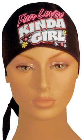 MADE in the USA Doo Rag with SWEAT BAND Fun Lovin Kinda Girl Head Wrap Skull Cap Cotton Chemo Do Hat