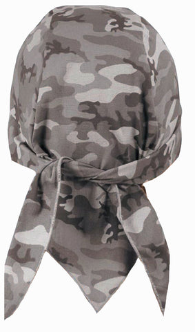 Camouflage Doo Rag | MADE IN AMERICA | Grey, Gray Camo Bandana | Motorcycle Head Wrap | Cotton with Sweatband