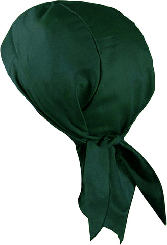 Hunter Green Doo Rag Motorcycle Skull Cap Dorag Chemo Bandana MADE IN THE USA