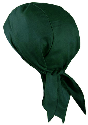 HUNTER GREEN Doo-Rag Skull Cap Solid with a Sweatband Cotton Helmet Liner MADE IN THE USA
