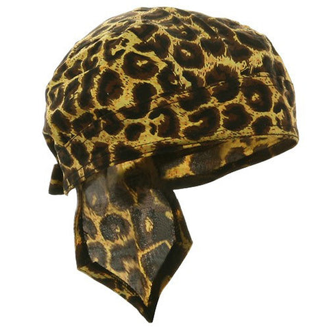 Jaguar Cheetah Animal Print Spotted Headwrap Doo Rag Durag Skull Cap Cotton Sporty Motorcycle Hat