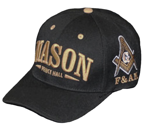 PRINCE HALL MASON Baseball Cap F&AM Black and Gold Hat Masonic Black History