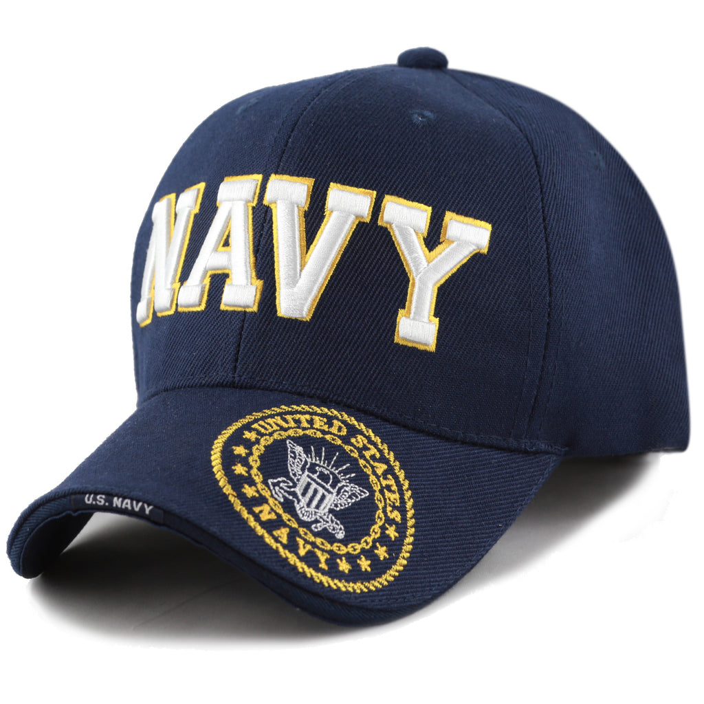 6258477d09aeff US NAVY LOGO Cap Blue Hat United States Military Adjustable One Size Fit  Embroidered