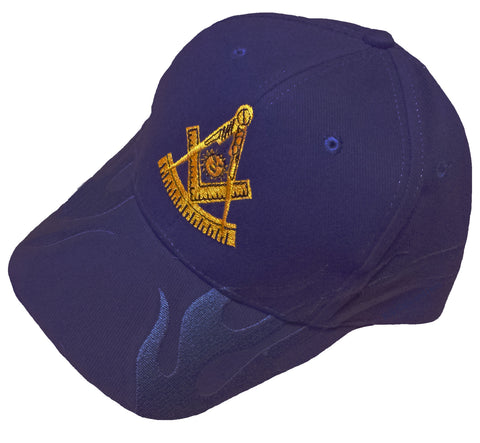Mason Hat Navy Blue Past Master Baseball Cap with Masonic Logo and FLAMES on the bill Freemasons Shriners Prince Hall Lodge Headwear