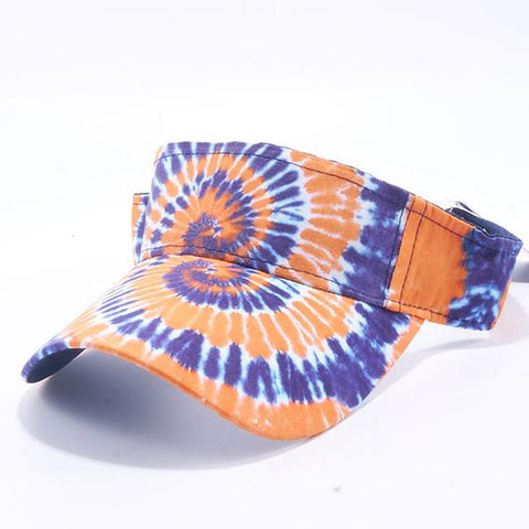 Tie Dye Golf Visor Orange White and Blue 1960s Sun Visors Hippie Hippy 60s Woodstock Tye Die
