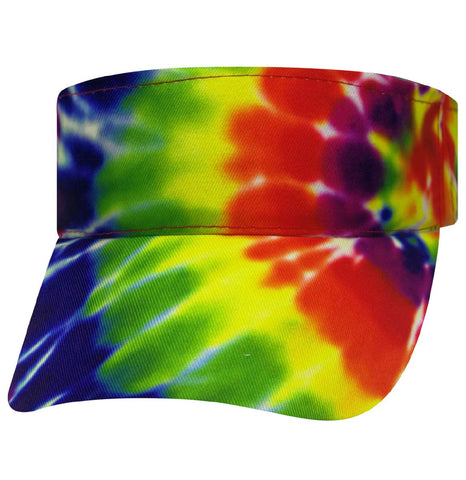 Tie Dye Sun Visor 1960s Tye Die Hippie Hat Fun Woodstock Rainbow Hippy 60s Colorful Hi-Vis