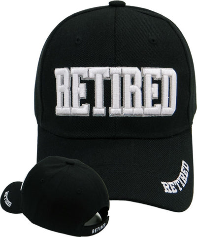 RETIRED Black Baseball Cap Retiree Hat Retirement Party Headwear for Teachers Military Boss Family Co-Worker
