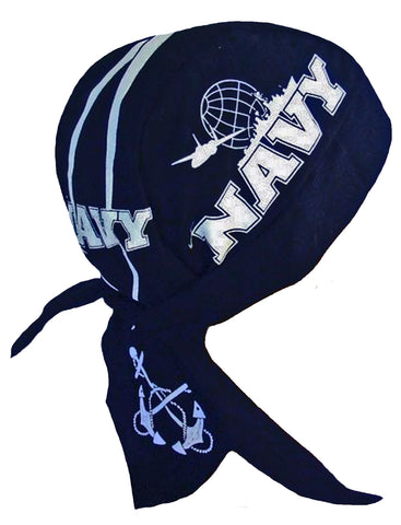 US Navy Doo Rag MADE IN AMERICA Blue Bandana Head Wrap Motorcycle Bikers Hat