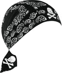 Skull and Crossbones Skeleton Paisley Doo Rag Cap Biker Hat Bandana Head Wrap Black and Navy Blue for Men or Women