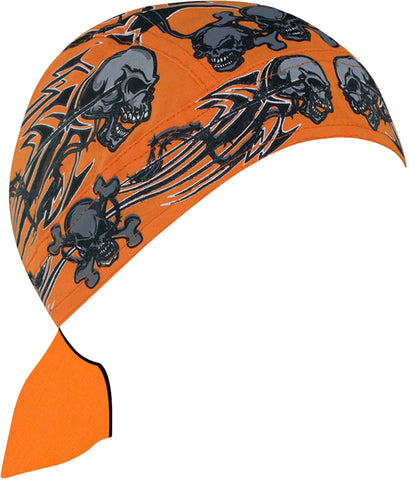 Skeleton Head Tribal Doo Rag Hat Bandana Head Wrap Black and Orange for Men or Women