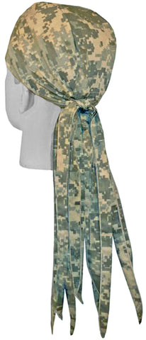 ACU Digital Camouflage Hunting Doo Rag ROVER Durag Long Tails and SWEATBAND MADE IN THE USA
