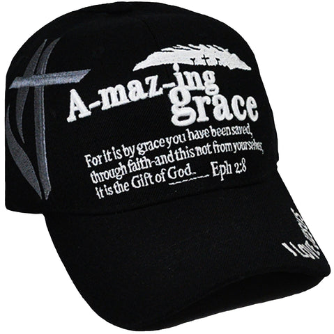 Christian Baseball Cap, Amazing Grace Black Religious Hat Adjustable Embroidered