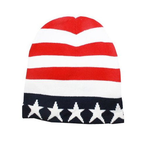 American Flag Ski Hat Patriotic Knitted Winter Beanie Cuffless Stars and Stripes Red White and Blue Skull Cap