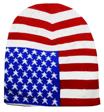 American Flag Beanie Patriotic Skull Cap Stars and Stripes Red White and Blue