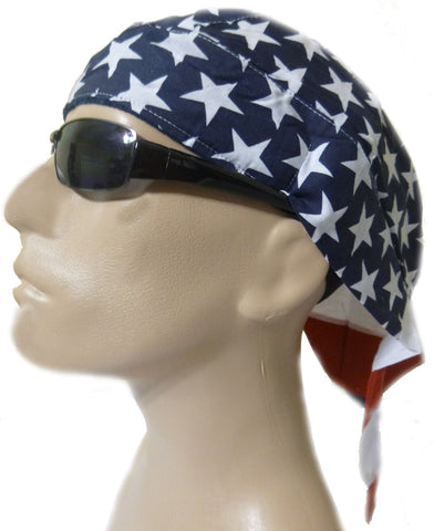 American Flag Patriotic Head Wrap Doo Rag with SWEAT BAND Durag Skull Cap Cotton Sporty Motorcycle Hat