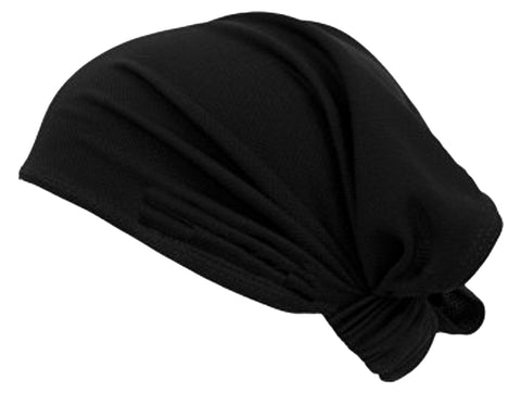 Black Headwrap Soft Stretch Spandex/ Bamboo Helmet Liner Motorcycle Bikers, Cyclists, Chemo Bald Head Cover