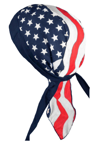 American Flag Doo Rag MADE IN AMERICA Patriotic Bandana Head Wrap Motorcycle Bikers Hat