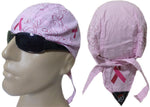 CLEARANCE Pink Ribbon Paisley Head Wrap Breast Cancer Awareness Womens Doo Rag Durag Skull Cap Cotton Sporty Motorcycle Hat