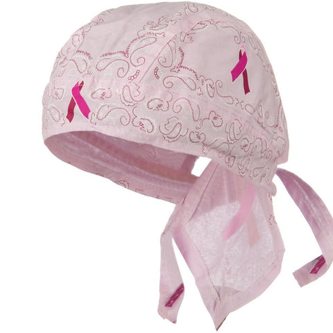 Pink Ribbon Paisley Head Wrap Breast Cancer Awareness Womens Doo Rag Durag Skull Cap Cotton Sporty Motorcycle Hat