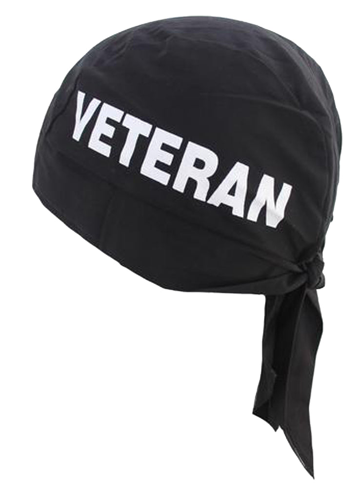 VETERAN Doo Rag MADE IN AMERICA Black Military Bandana Head Wrap