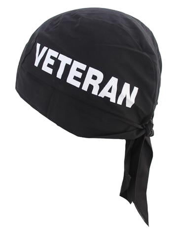 VETERAN Doo Rag MADE IN AMERICA Black Military Bandana Head Wrap Motorcycle Dorag