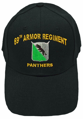 CLEARANCE U.S. Army Baseball Cap 69th Armored Regiment Hat Black Panthers History