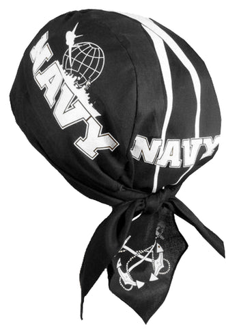US Navy Doo Rag MADE IN AMERICA Black Bandana Head Wrap Motorcycle Bikers Hat