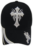 Christian Silver Cross Baseball Cap Black and White Religious Hat Adjustable Embroidered