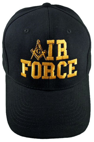 U.S. Air Force Black Masonic Baseball Cap Mason Logo Hat for Freemasons Shriners Prince Hall Masons Headwear