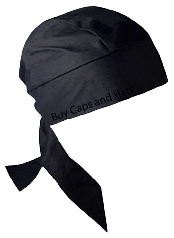 Solid Black Doo Rag with SWEATBAND Pirate Skull Cap Heavy Duty Cotton Large/XL
