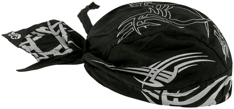 Reflective Tribal Motorcycle Doo Rag Head Wrap Black and Silver Durag Skull Cap Cotton Sporty Motorcycle Hat
