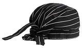 Chef Dorag Cap Cooks Hat Solid Black and White Pinstripe