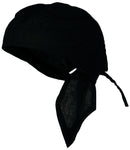 Black Solid Doo Rag Headwrap Durag Skull Cap Cotton Sporty Motorcycle Hat