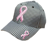 Pink Ribbon Checkered Baseball Cap Breast Cancer Awareness Womens Black and White Hat