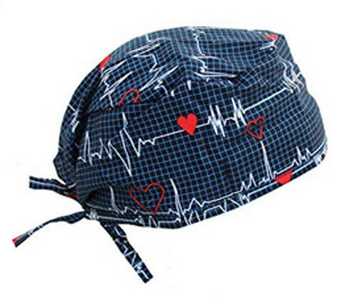 Surgical Scrub Cap EKG Heartbeat with SWEATBAND MADE IN THE USA Doctors Surgeon Hat