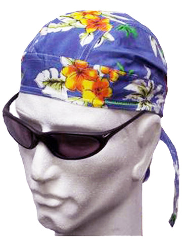 Hawaiian Tropical Flowers Blue Red Headwrap Doo Rag Durag Skull Cap Cotton Sporty Motorcycle Hat